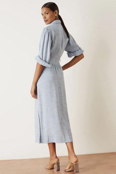 Vestido Midi Chemise Linho Jeans