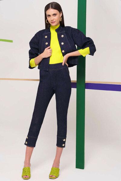 Conjunto Calça e Jaqueta Jeans Escuro