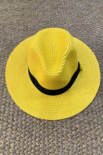 Chapéu Palha Amarelo Detalhe Olho Grego - Exclusividade Duza