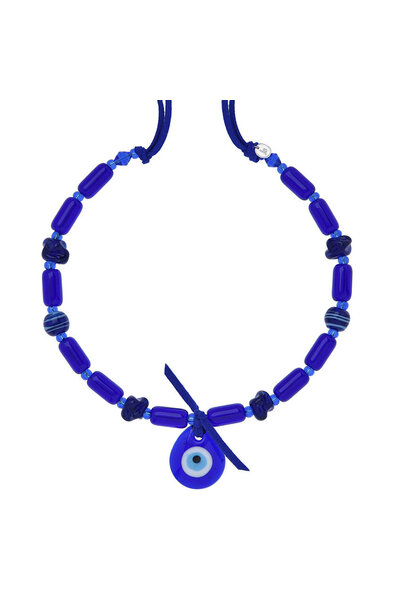 Colar Murano Azul com Pingente Olho