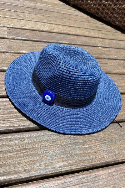 Chapéu Palha Azul Detalhe Olho Grego - Exclusividade Duza