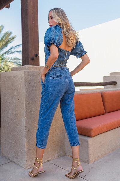 Conjunto Cropped e Calça Alfaiataria Jeans