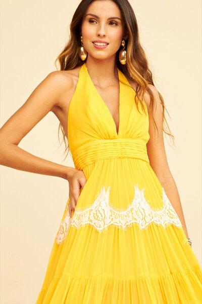 Vestido Amarelo Frente Única com Renda