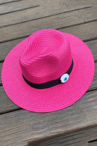 Chapéu Palha Pink Detalhe Olho Grego - Exclusividade Duza