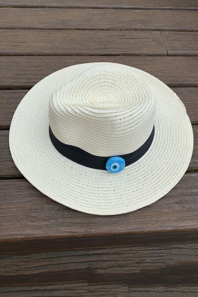 Chapéu Palha Bege Detalhe Olho Grego - Exclusividade Duza