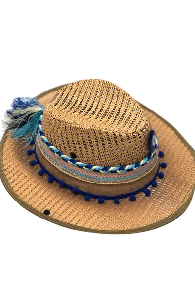 Chapéu Palha Trança Olho Grego