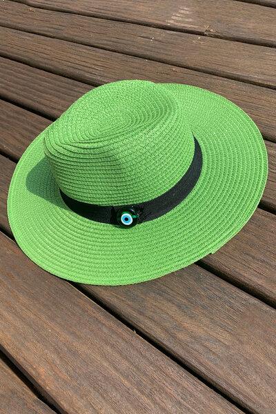 Chapéu Palha Verde Detalhe Olho Grego - Exclusividade Duza