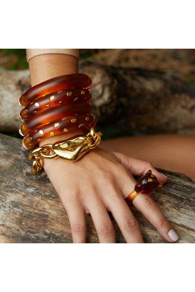 Bracelete Mola Resina Ambar