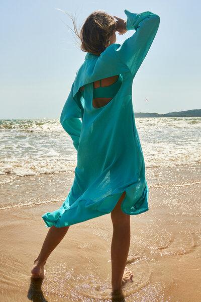 Vestido Linho Vazado nas Costas