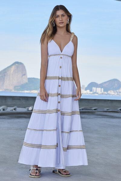 Vestido Longo Tricoline