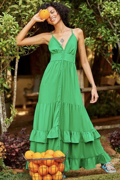 Vestido Panamá Trama Verde