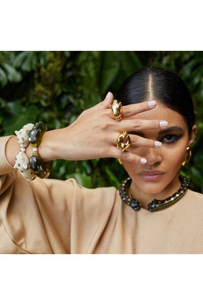 Bracelete Imã Resina Leopardo Small Spot Marfim