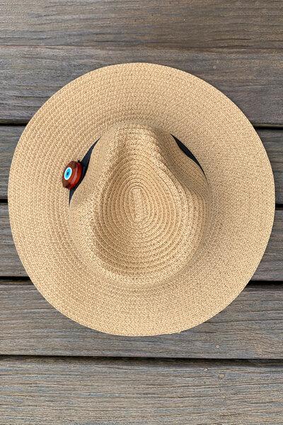 Chapéu Palha Caramelo Detalhe Olho Grego - Exclusividade Duza