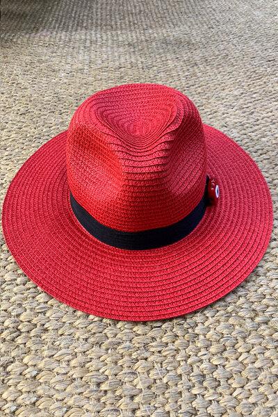 Chapéu Palha Vermelho Detalhe Olho Grego - Exclusividade Duza