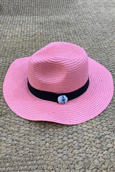 Chapéu Palha Rosa Detalhe Olho Grego - Exclusividade Duza