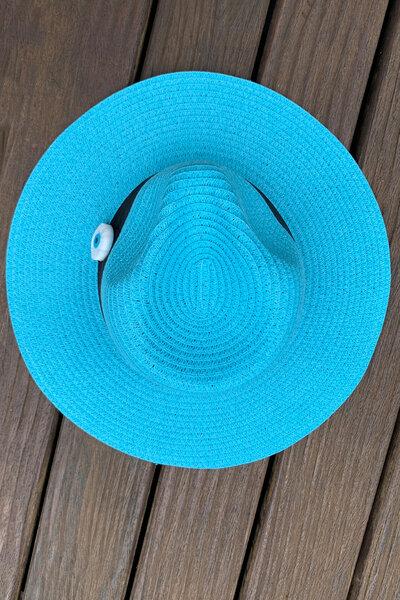 Chapéu Palha Turquesa Detalhe Olho Grego - Exclusividade Duza