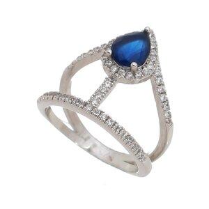 Anel Vazado com Gota de Safira Azul
