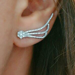 Brinco Ear Cuff Cometa em Prata 925