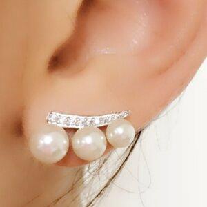 Ear Cuff com 3 Pérolas