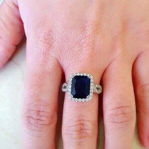 Anel em prata 925 Safira Azul Fusion