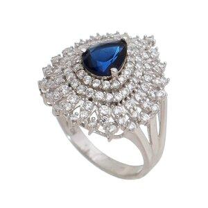 Anel em Prata 925 com Safira Azul