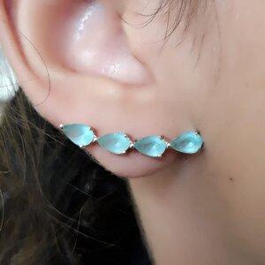 Brinco de Prata Ear Cuff com Gotas Turmalina Paraíba