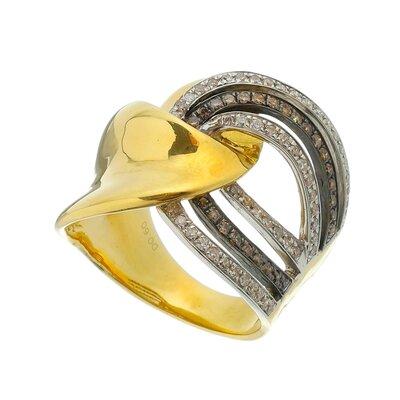 Anel Ouro Amarelo Trançado Diamantes