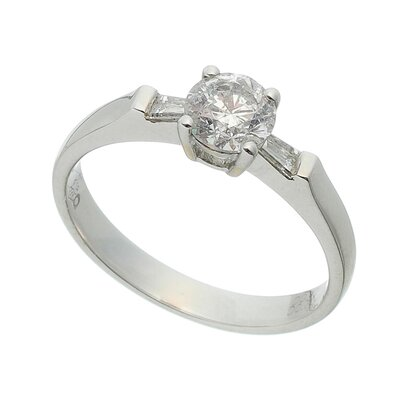 Solitário Ouro Branco com Diamantes