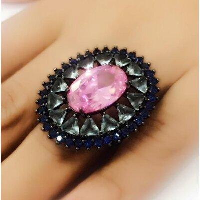 Anel com Cristal Rosa Oval