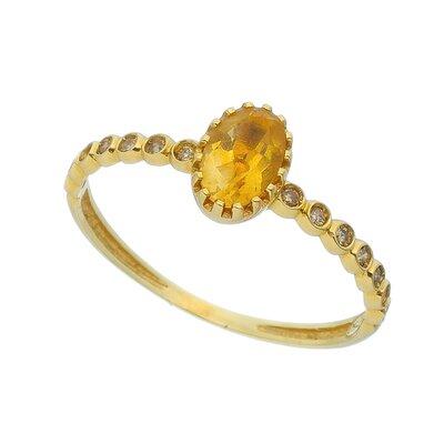 Anel Ouro Amarelo Citrino