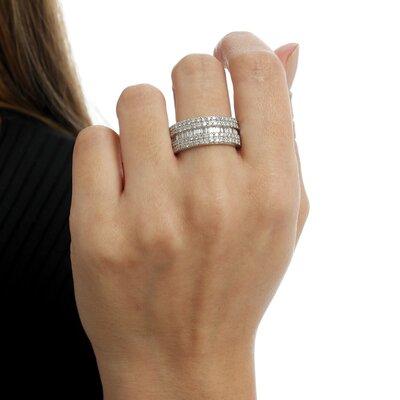 Anel Ouro Branco Diamantes Carrés