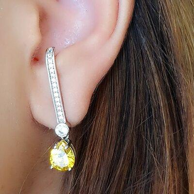 Brinco Ear Suspender com Gota Citrino