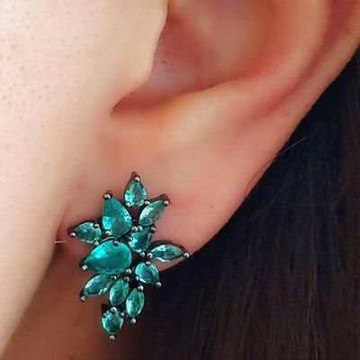 Brinco Ear Cuff Pedras Verdes