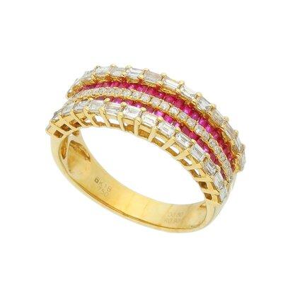 Anel Ouro Amarelo com Rubis e Diamantes