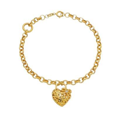 Pulseira Ouro Amarelo com Coração