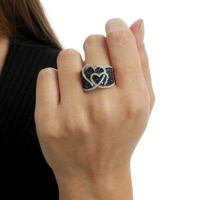 Anel Ouro Branco Corações e Diamantes Negros