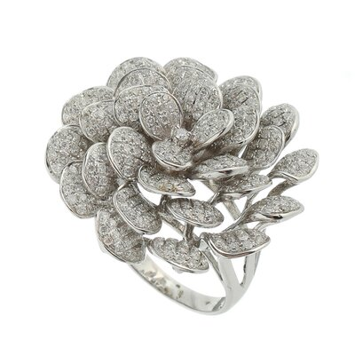 Anel Ouro Branco Flor Diamantes