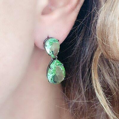 Brinco Two Green Crystal