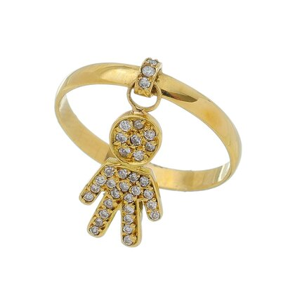 Anel Ouro Amarelo com Menino com Diamantes