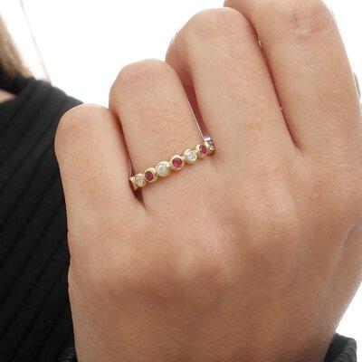 Anel Ouro Amarelo com Rubi e Diamantes