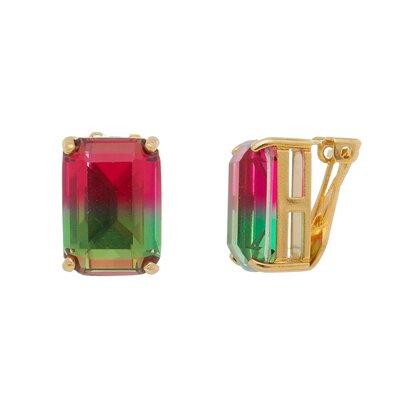 Brinco Pressão Turmalina Fusion Verde e Rosa
