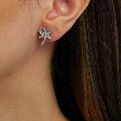 Brinco Libélula Ouro Branco 18k com Diamantes