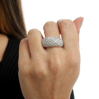 Anel Ouro Branco Cravejado Diamantes