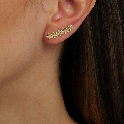Ear Cuff Florezinhas Ouro Amarelo