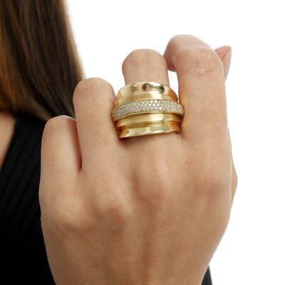 Anel Ouro Amarelo Aro Diamantes Removível