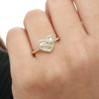 Anel Ouro Amarelo Coração Diamantes