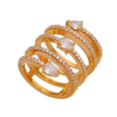 Anel em Espiral com Gotas de Zirconias