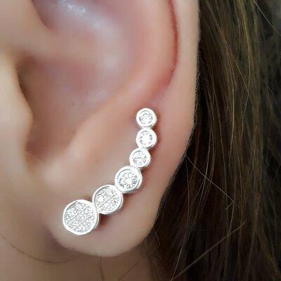 Ear Cuff em Prata 925 com Zirconias