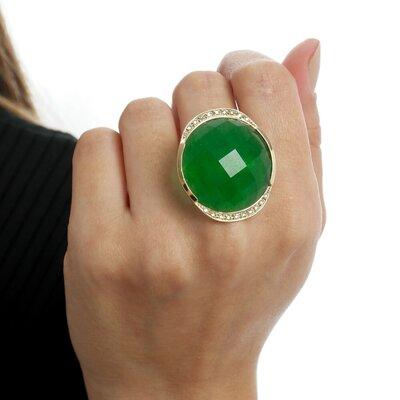 Anel Verde em Ouro 18k Nefrita com Diamantes