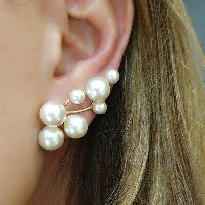 Brinco Ear Cuff Poderoso com 7 Perolas